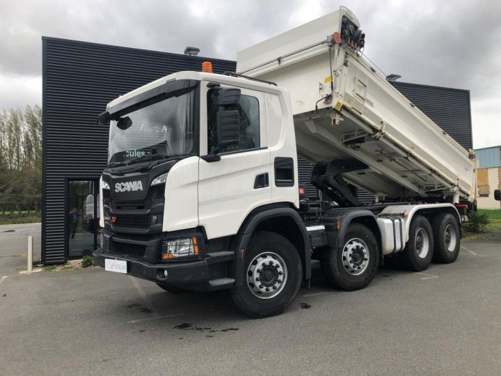Camion porteur Scania Bibenne / Tribenne 410 8X4 BI BENNE BLANC - 2