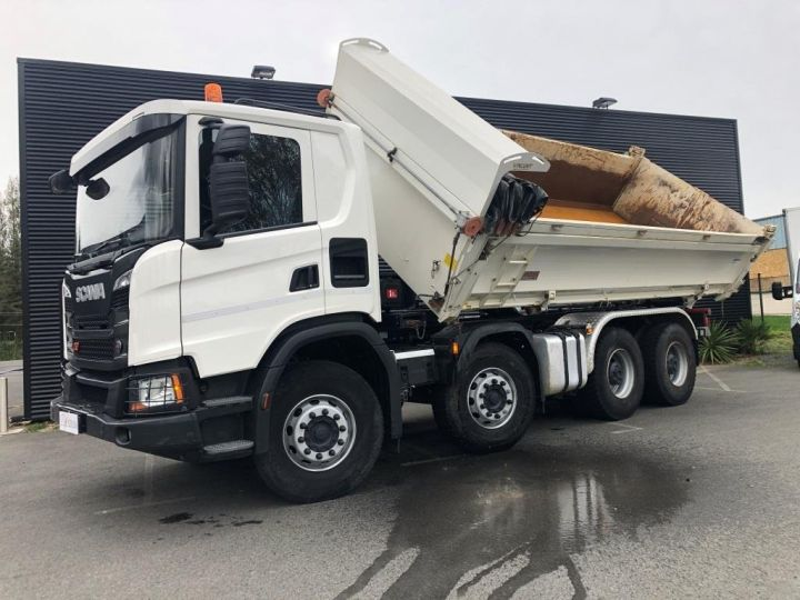Camion porteur Scania Bibenne / Tribenne 410 8X4 BI BENNE BLANC - 4