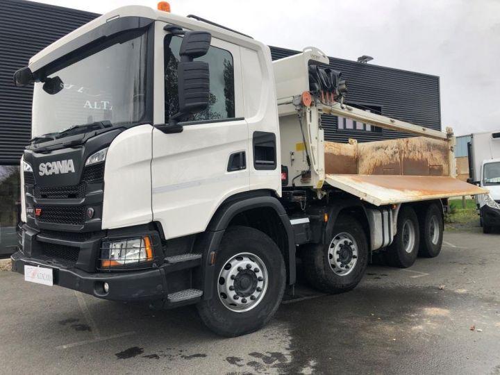 Camion porteur Scania Bibenne / Tribenne 410 8X4 BI BENNE BLANC - 6
