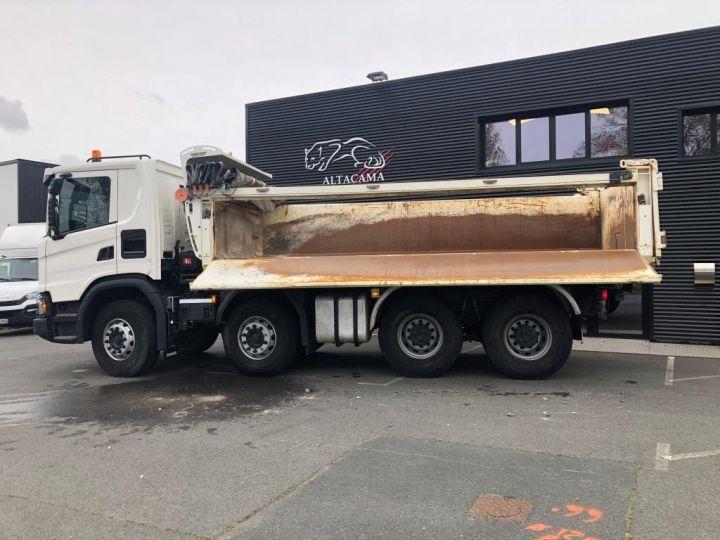 Camion porteur Scania Bibenne / Tribenne 410 8X4 BI BENNE BLANC - 7