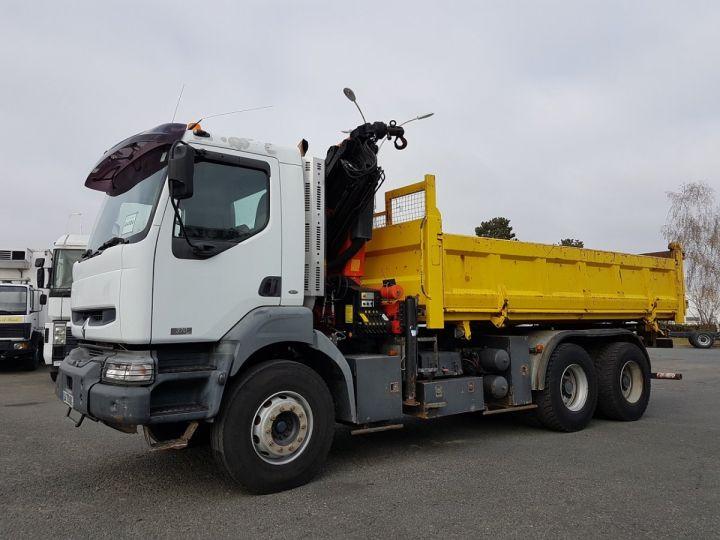 Camion porteur Renault Kerax Bibenne/Tribenne + Grue 370dci.26 6x4 + PK 16502 BLANC et JAUNE Occasion - 1