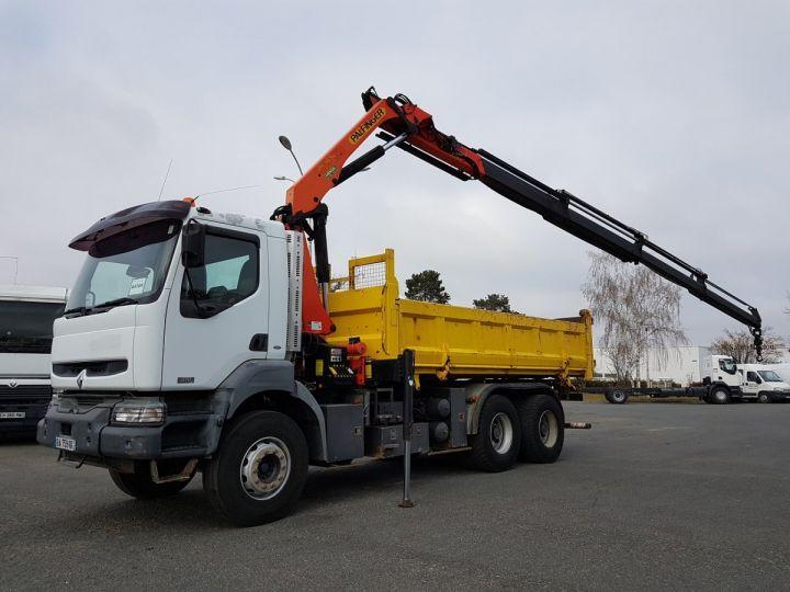 Camion porteur Renault Kerax Bibenne/Tribenne + Grue 370dci.26 6x4 + PK 16502 BLANC et JAUNE Occasion - 2