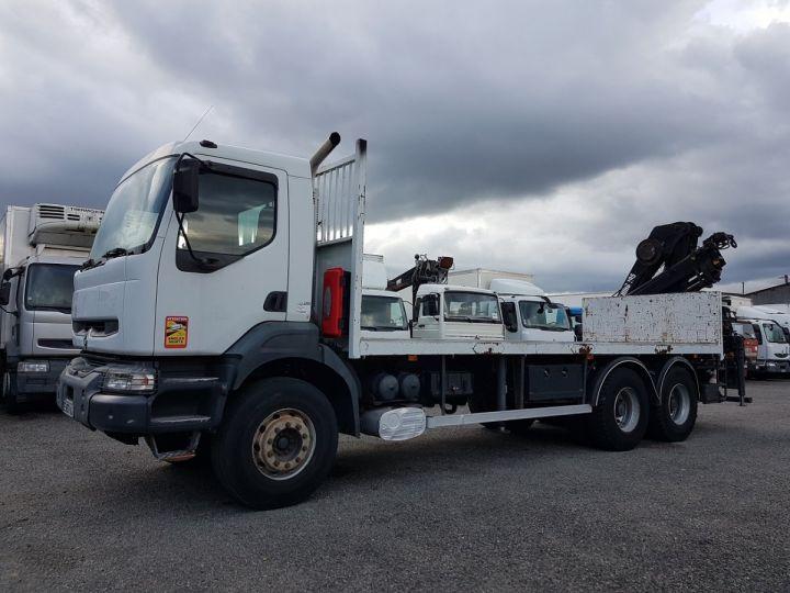 Camion porteur Renault Kerax Plateau + grue 370dci.26 6x4 + HIAB 195.3 BLANC Occasion - 1