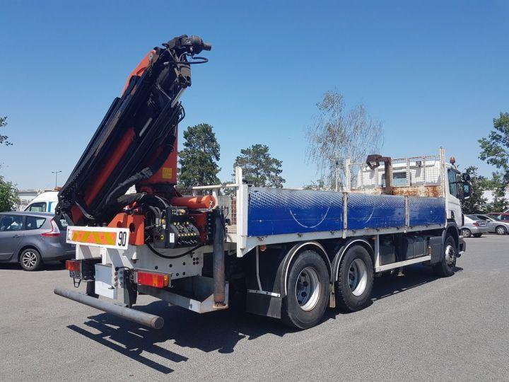 Camion porteur Scania P Plateau + grue 340 CB 6x4 + PALFINGER PK18500 BLANC - 2