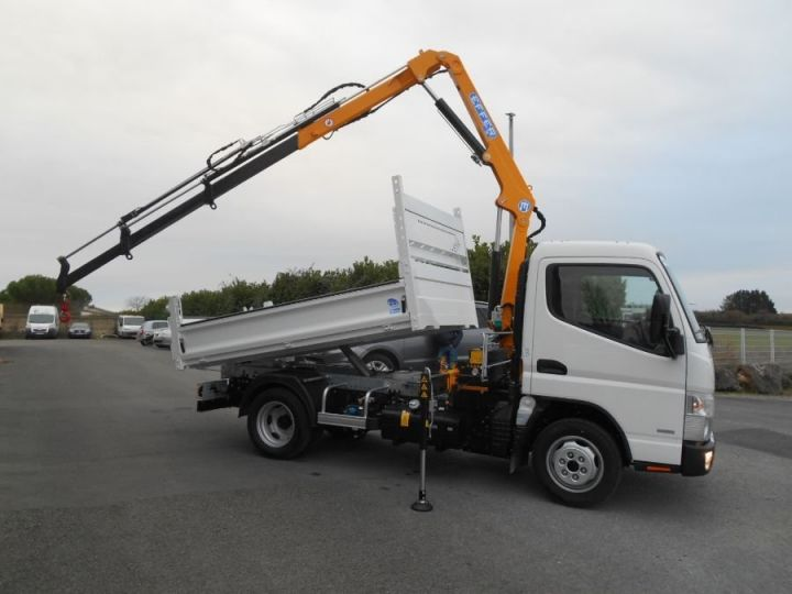 Chassis + body Mitsubishi Canter Tipper body + crane 3S15 N28 BLANC - 1