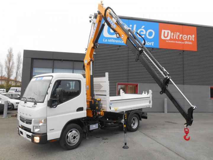 Chassis + body Mitsubishi Canter Tipper body + crane 3S15 N28 BLANC - 2