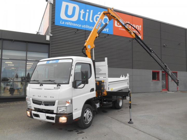Chassis + body Mitsubishi Canter Tipper body + crane 3S15 N28 BLANC - 7