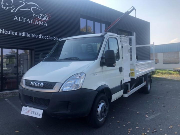 Chassis + carrosserie Iveco Daily Benne + grue 70 C 18 BENNE CHARGE UTILE 3T COFFRE GRUE CROCHET  BLANC - 2