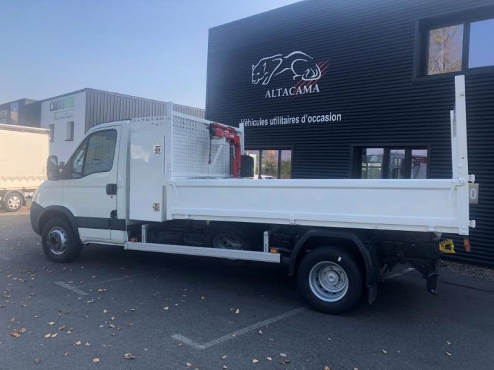 Chassis + carrosserie Iveco Daily Benne + grue 70 C 18 BENNE CHARGE UTILE 3T COFFRE GRUE CROCHET  BLANC - 4