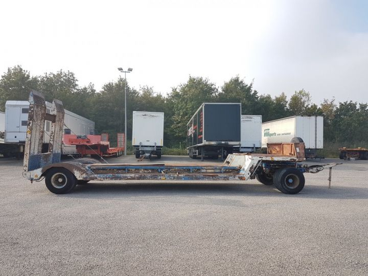 Remolque Samro Gondola lleva maquinas PORTE-ENGINS 2 essieux BLANC - BLEU - 21