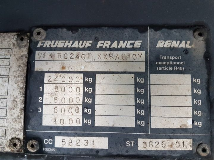 Trailer Fruehauf Curtain side body P.L.S.C. RIDELLES - 3 essieux BLANC - NOIR - GRIS - 20