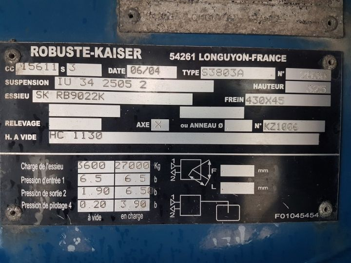 Trailer Kaiser Curtain side body P.L.S.C. 91m3 - 3 essieux SAF BLEU - 17