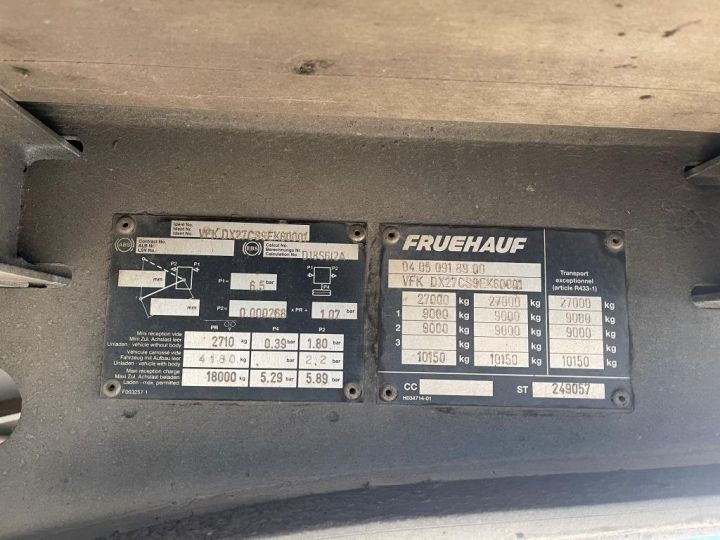 Trailer Fruehauf SEMI REMORQUE FRUEHAUF PLSC TOIT DEBACHABLE 2 ESSIEUX DX 27 CS BLEUE - 8