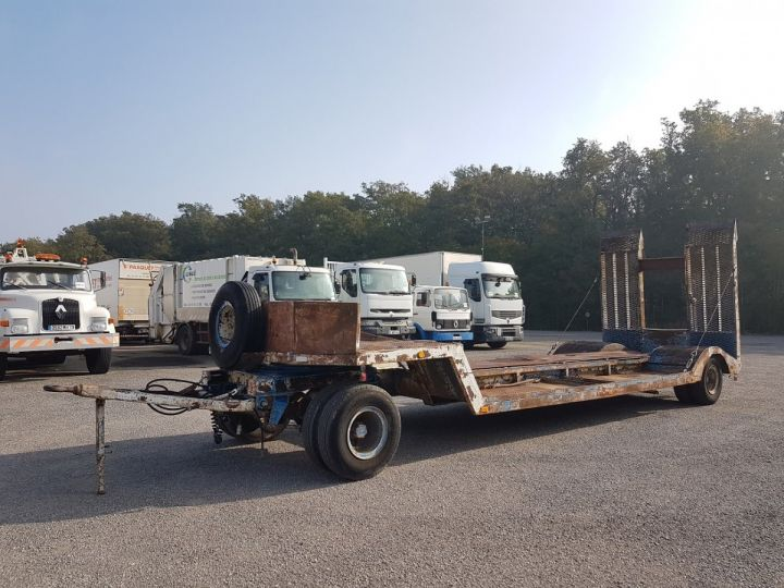 Trailer Samro Heavy equipment carrier body PORTE-ENGINS 2 essieux BLANC - BLEU - 1