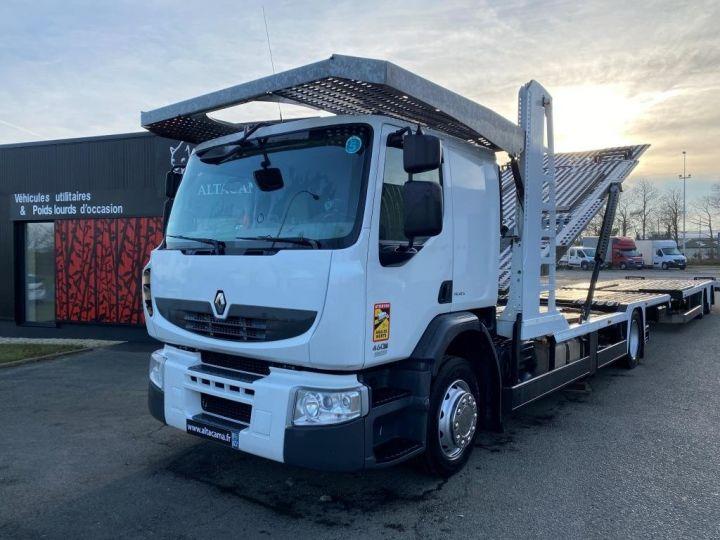 Trucks Renault Car carrier body RENAULT PREMIUM 460 PORTE VOITURE REMORQUE LOHR blanc - 1