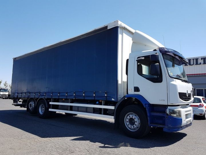 Trucks Renault Premium Lander Curtain side body 340dxi.26 6x2 S euro 5 BLANC et BLEU - 4