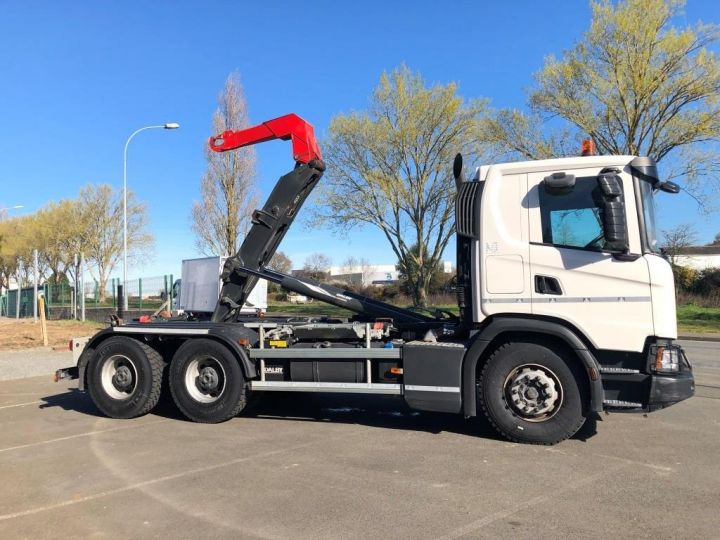 Trucks Scania G Hookloader Ampliroll body 410 BLANC - 3