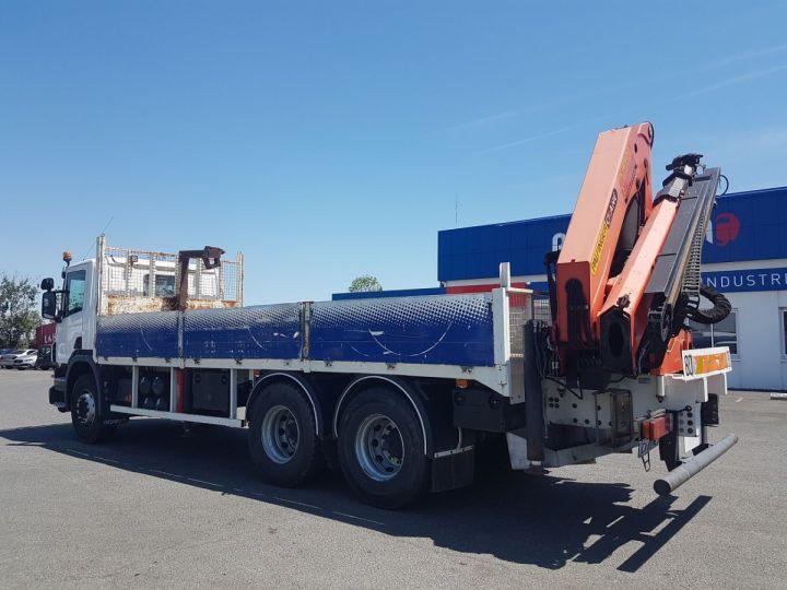 Trucks Scania P Platform body + crane 340 CB 6x4 + PALFINGER PK18500 BLANC - 5