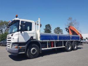 Camion porteur Scania P Plateau + grue 340 CB 6x4 + PALFINGER PK18500 Occasion